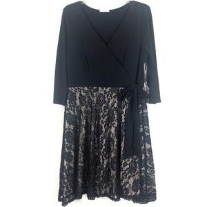 Black and Nude Lace Wrap Dress 3/4 Length Sleeves